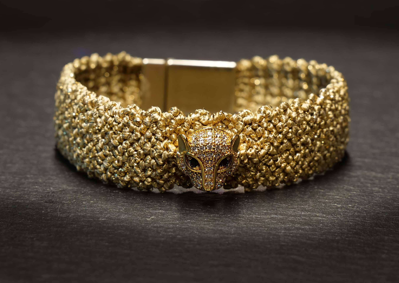 woven bracelet leopard in gold