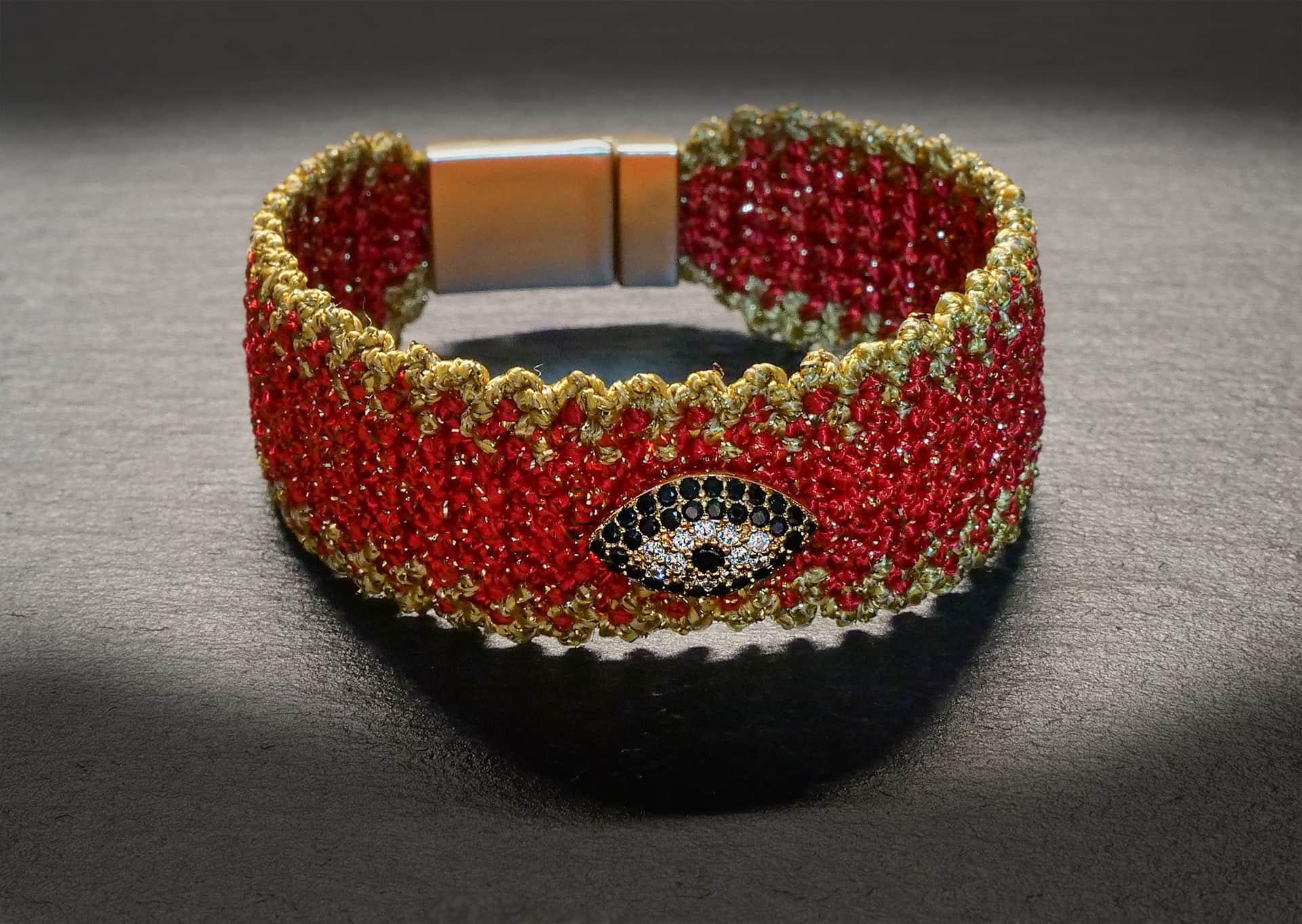 """""""Evil-Eye"""" BRACELET wide – red/gold"""