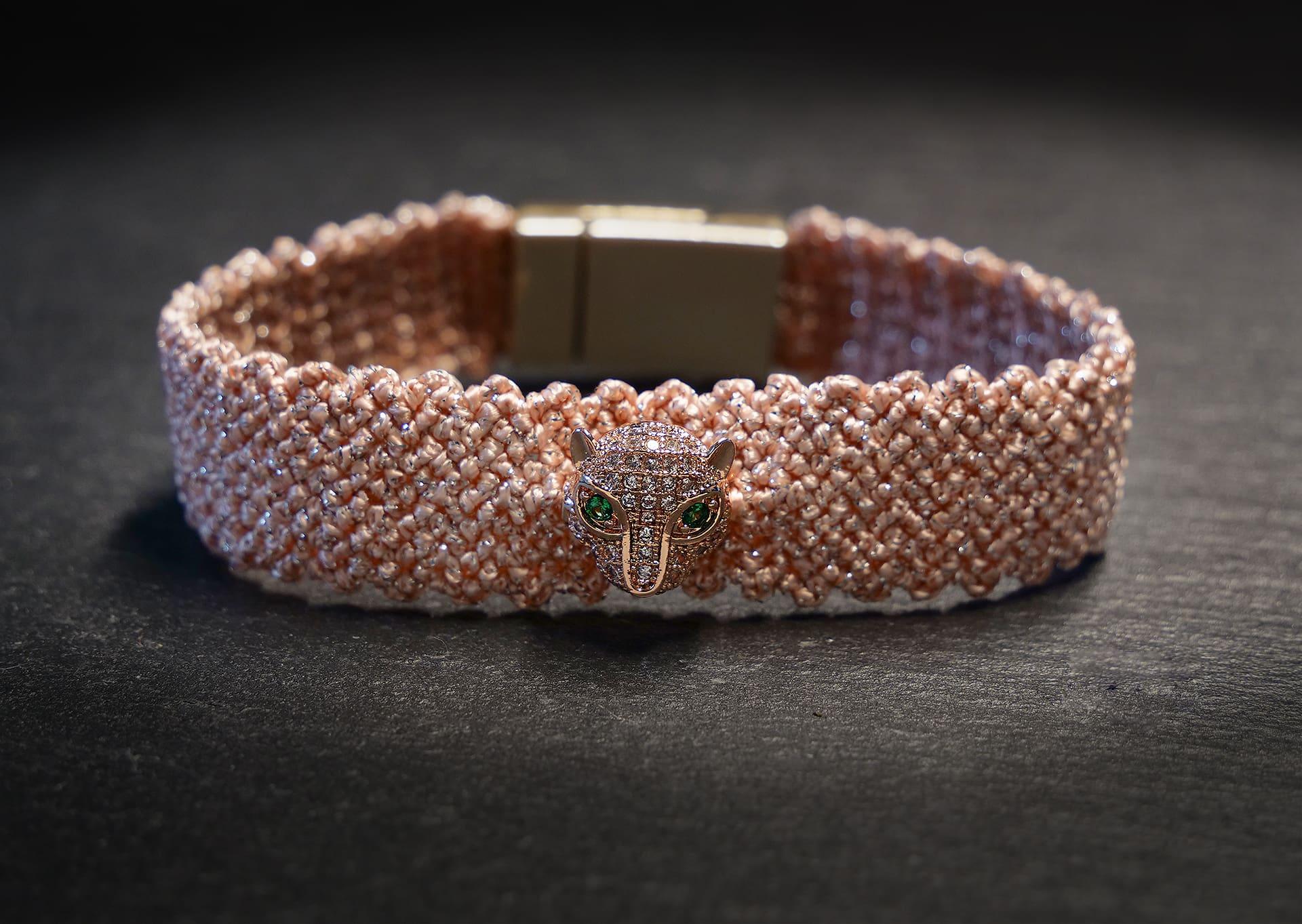 woven bracelet in peach pink