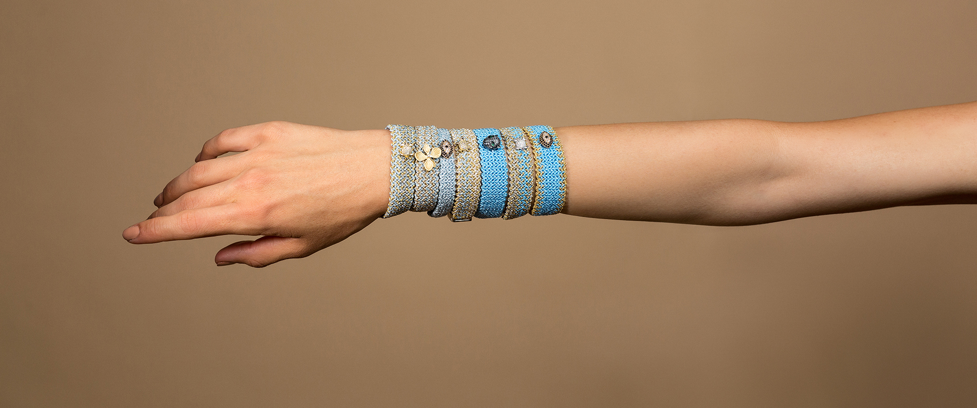 woven bracelets in shades of blue