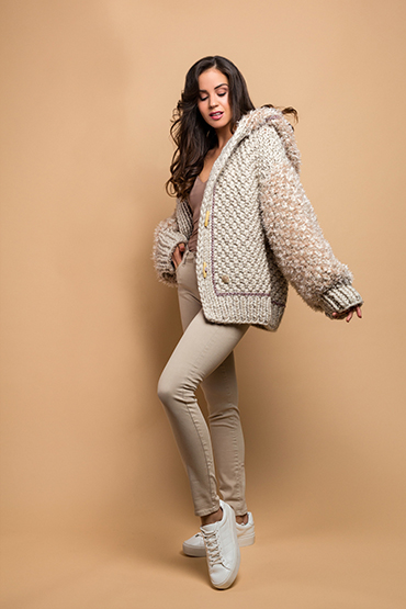 knitted jacket in off white
