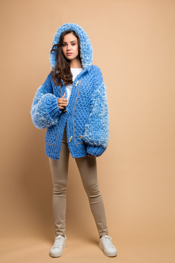 handmade knitted jacket cardigan in sky blue