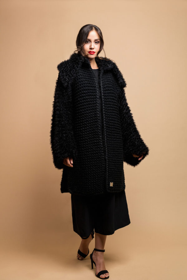 knitted coat in black