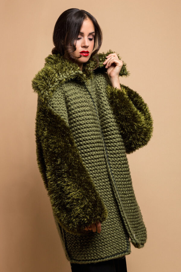 knitted coat khaki