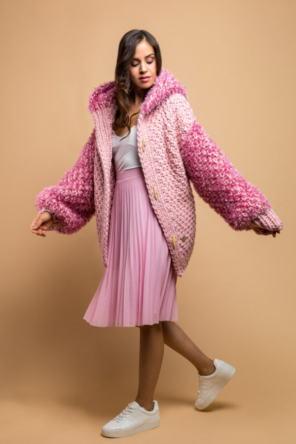 knitted jacket in pink
