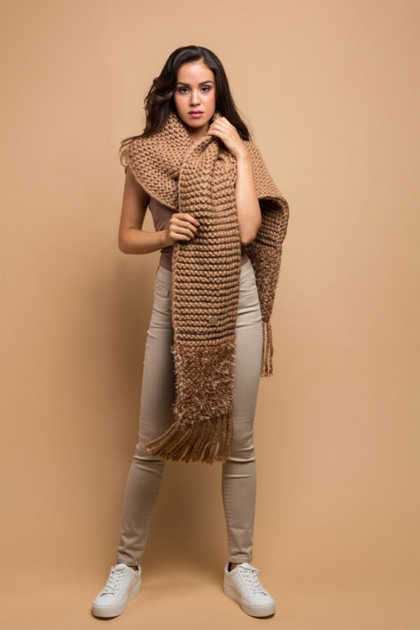 knitted wide scarf in camel