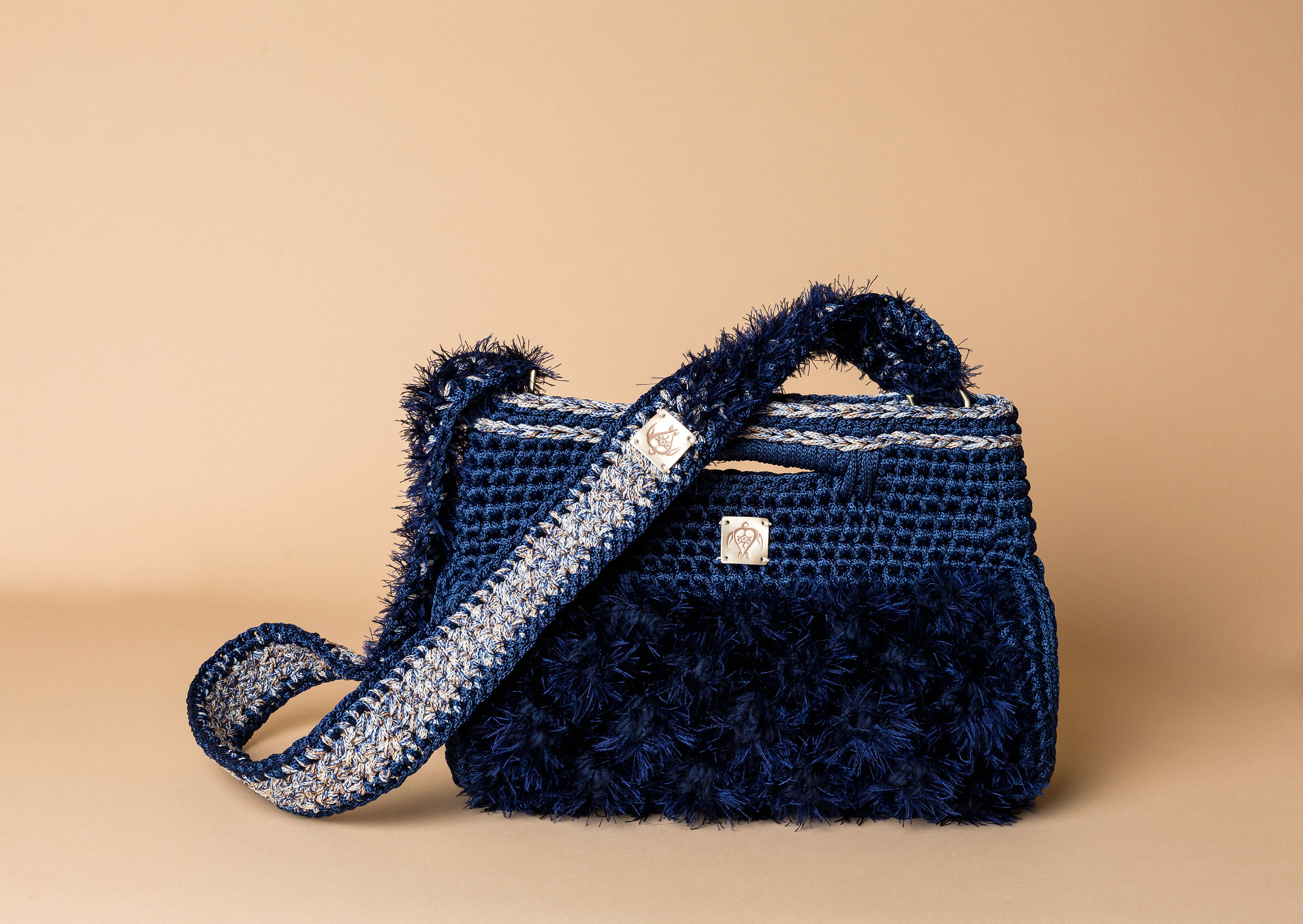 knitted handbag in midnight blue