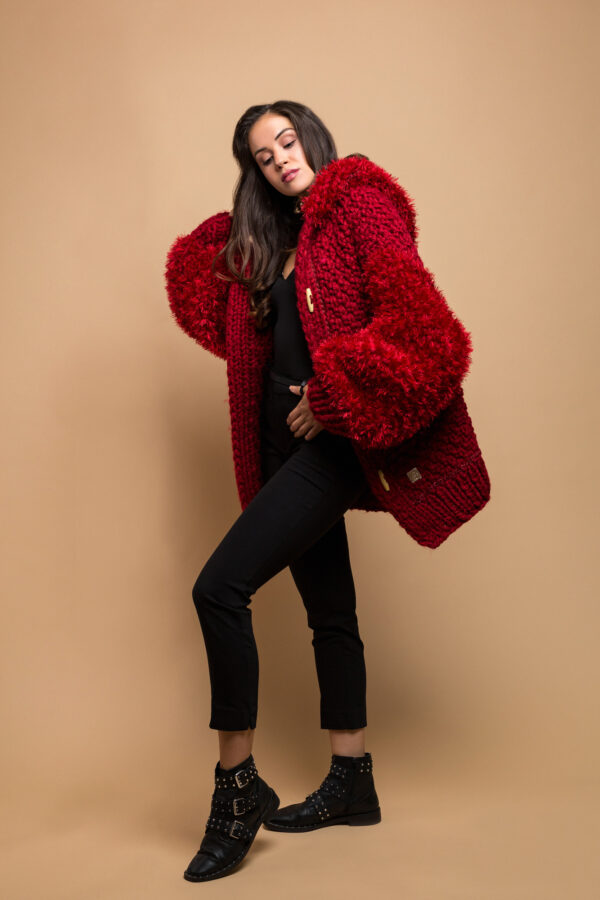 handmade knitted jacket cardigan in red