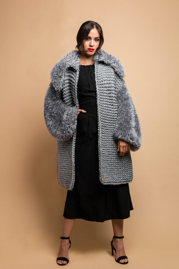 handmade knitted coat cardigan in grey