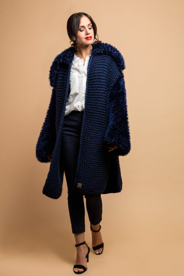 handmade knitted coat cardiganin midnight blue