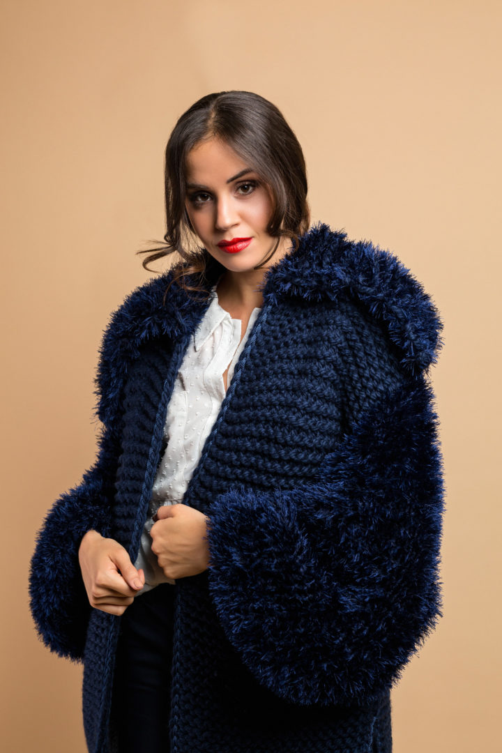 knitted coat midnight blue