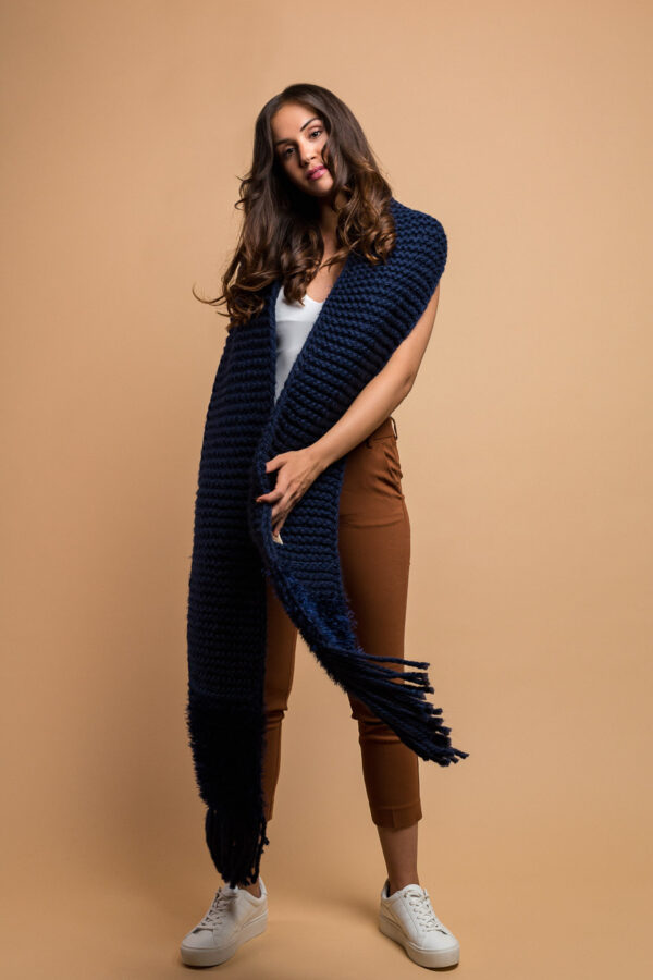 knitted wide scarf in midnight blue