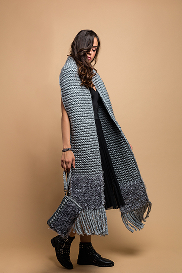 knitted wide scarf in grey