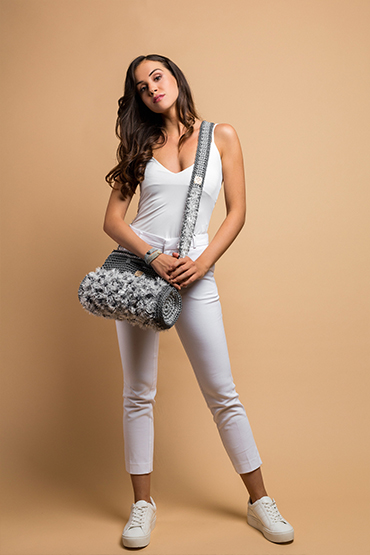 crochet handbag in grey