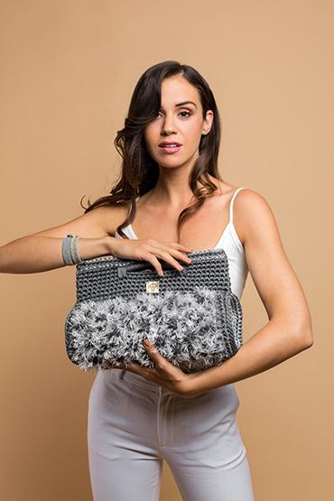 crochet handbag in grey