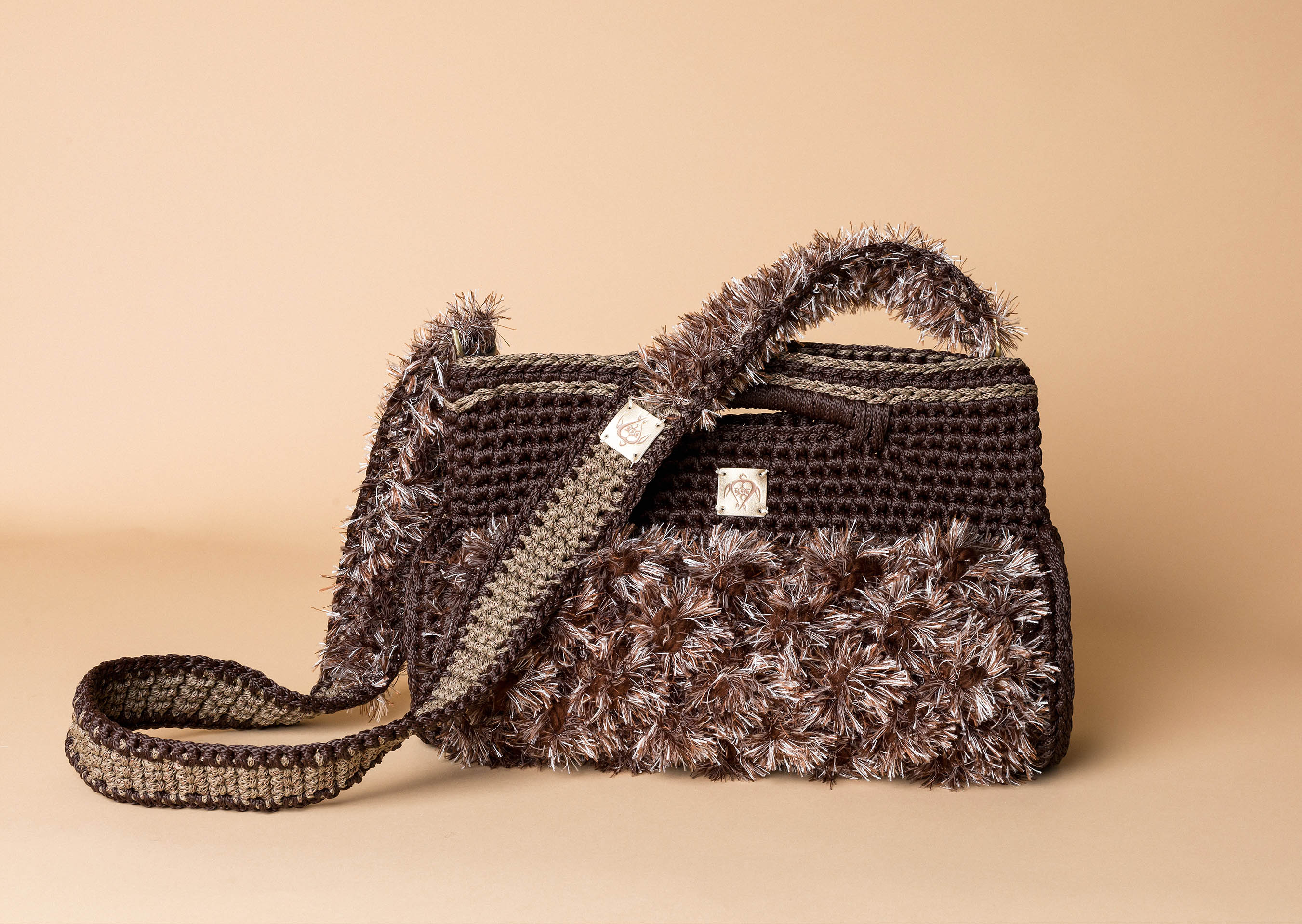 knitted handbag in brown