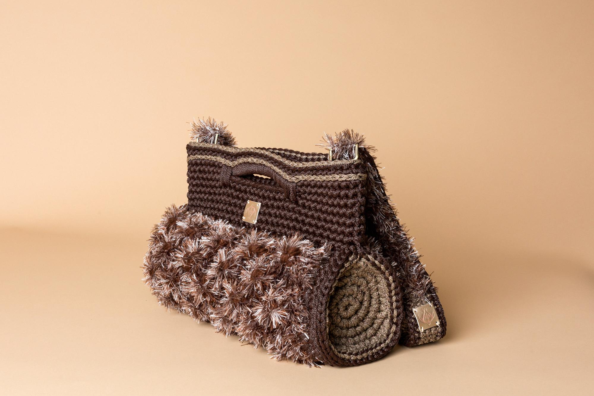 crochet barrel handbag in brown