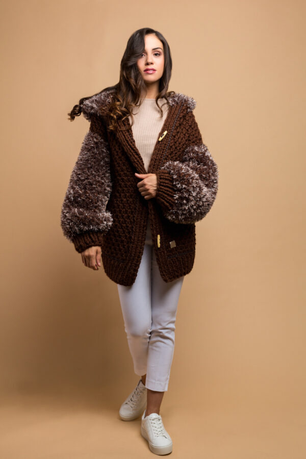 knitted jacket coffee brown
