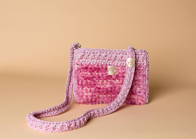 """Χειροποίητη πλεκτή τσάντα ροζ- """"Hedgehog"""" Petit ροζ"""
