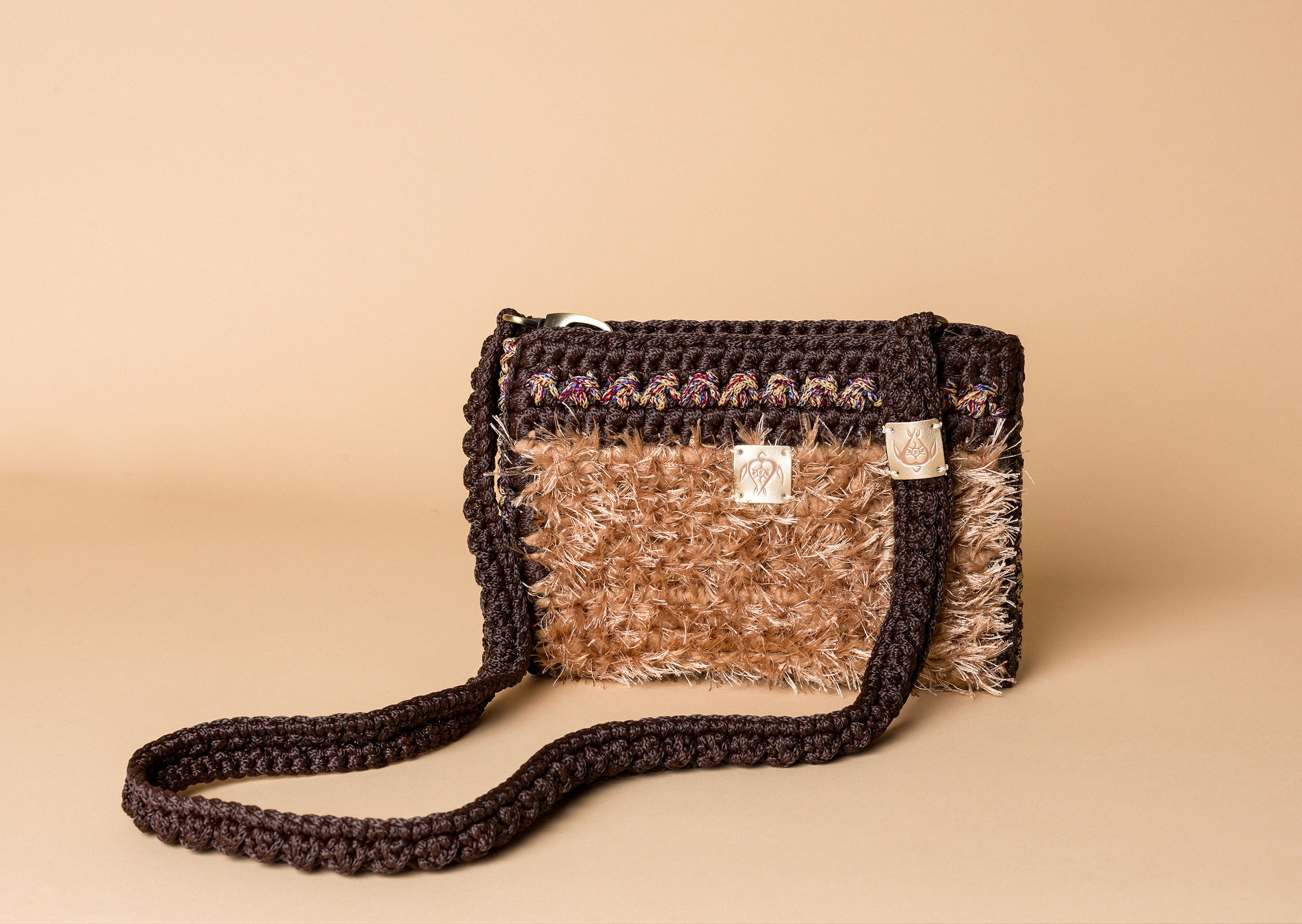 knitted bag petit in camel