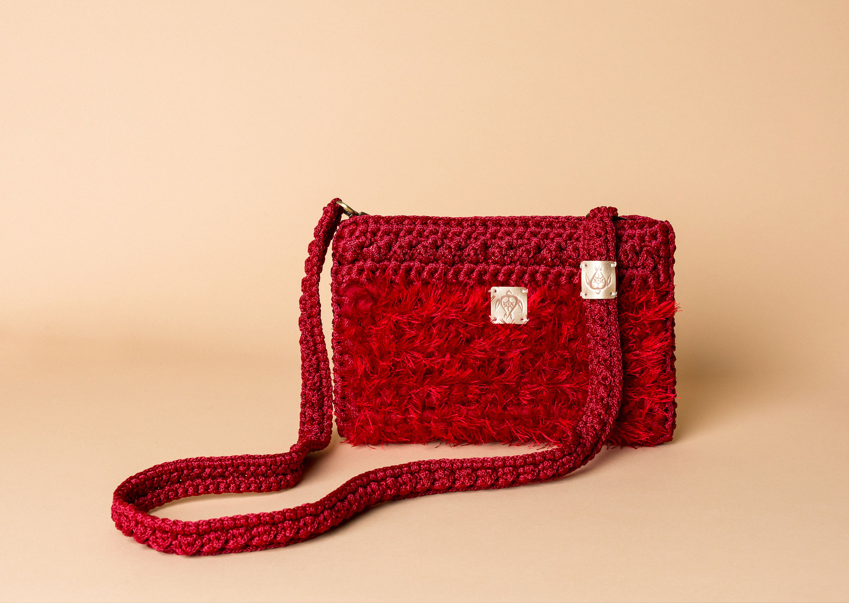 knitted bag petit in red
