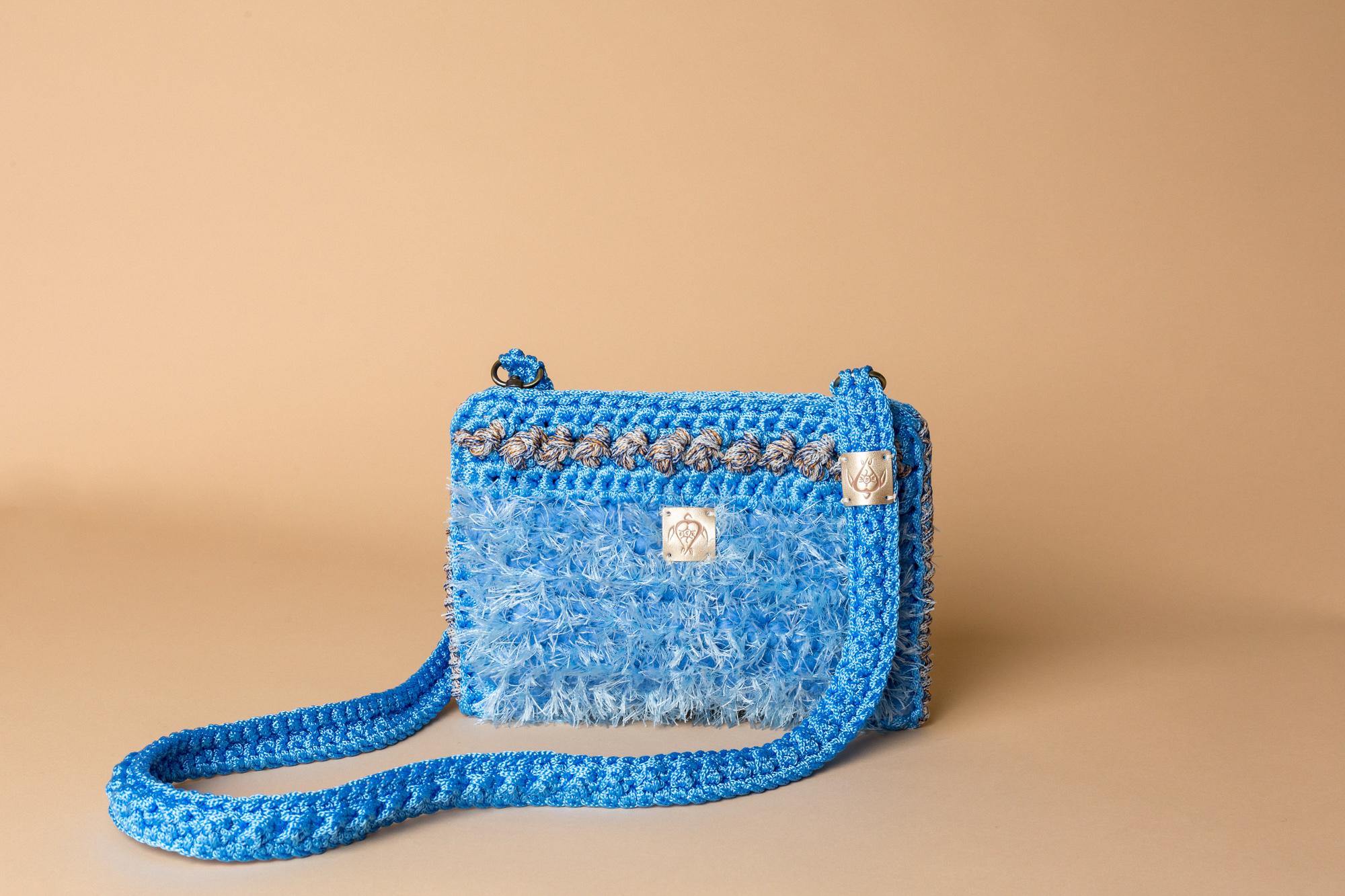 crochet bag sky blue