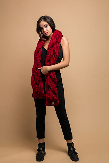 knitted wide scarf in red