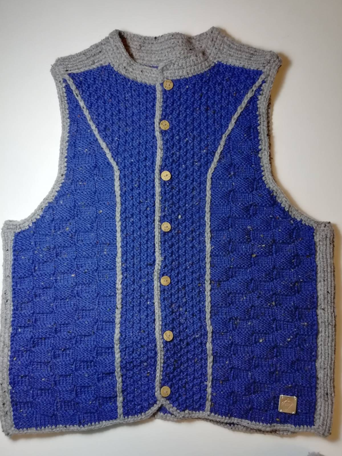 Handmade knitted vest blue/grey