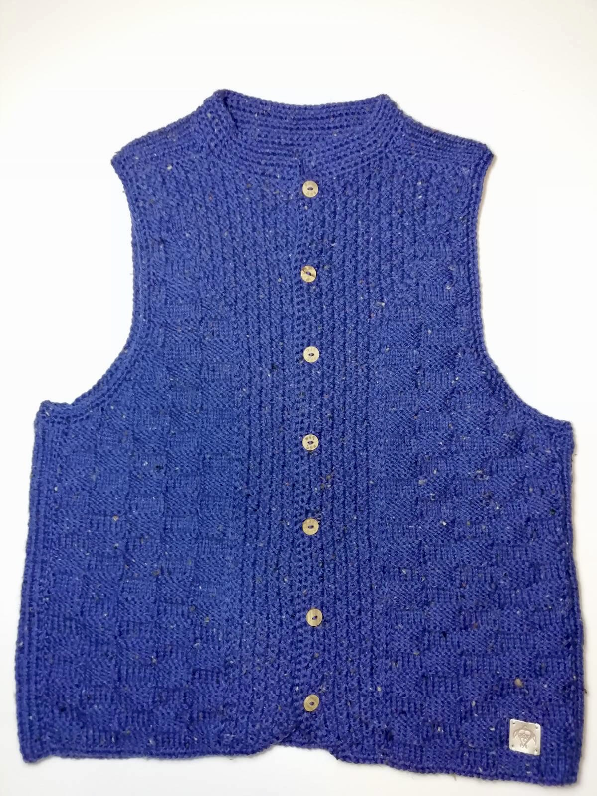 Handmade knitted vest blue