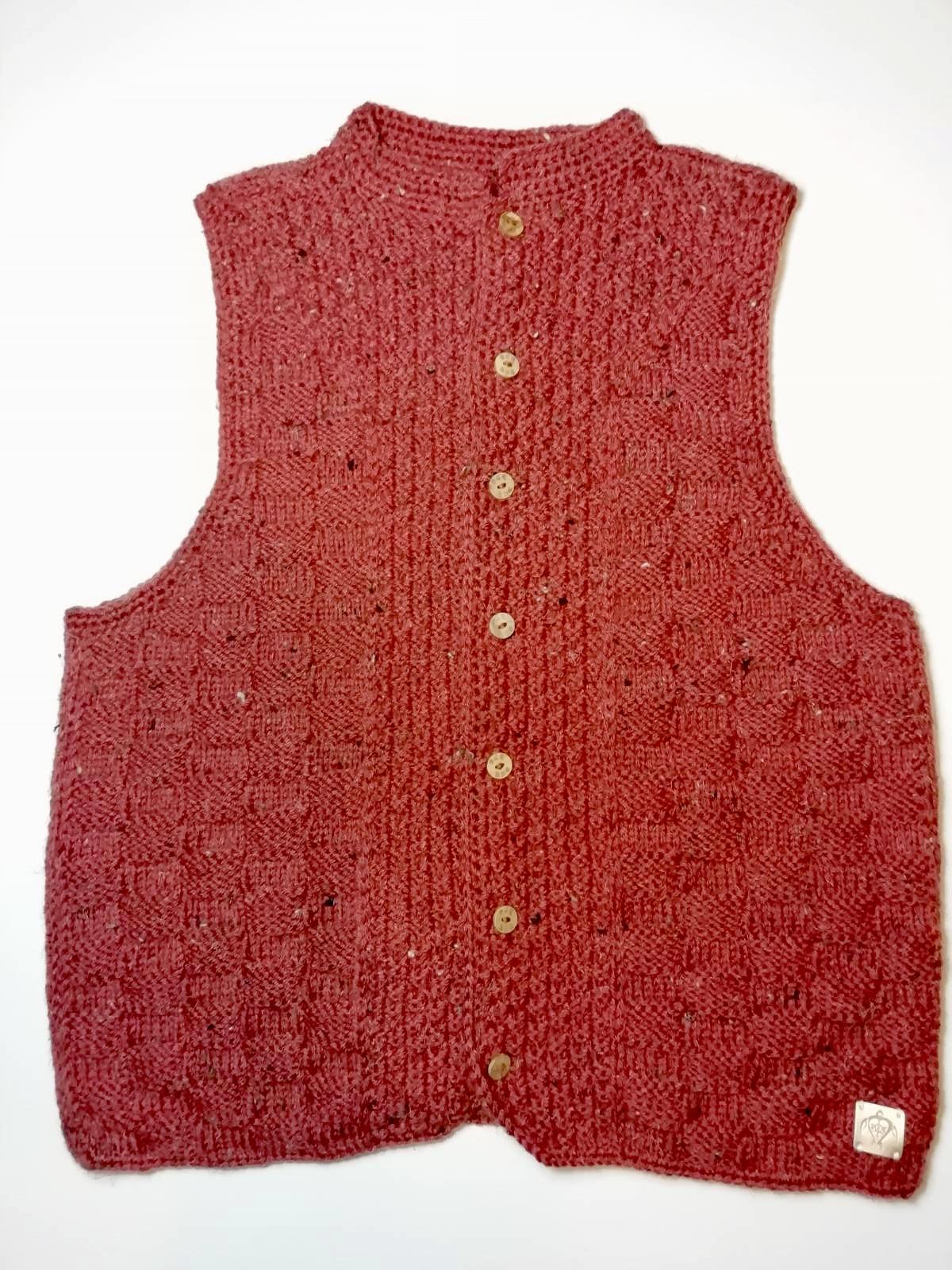Handmade knitted vest maroon