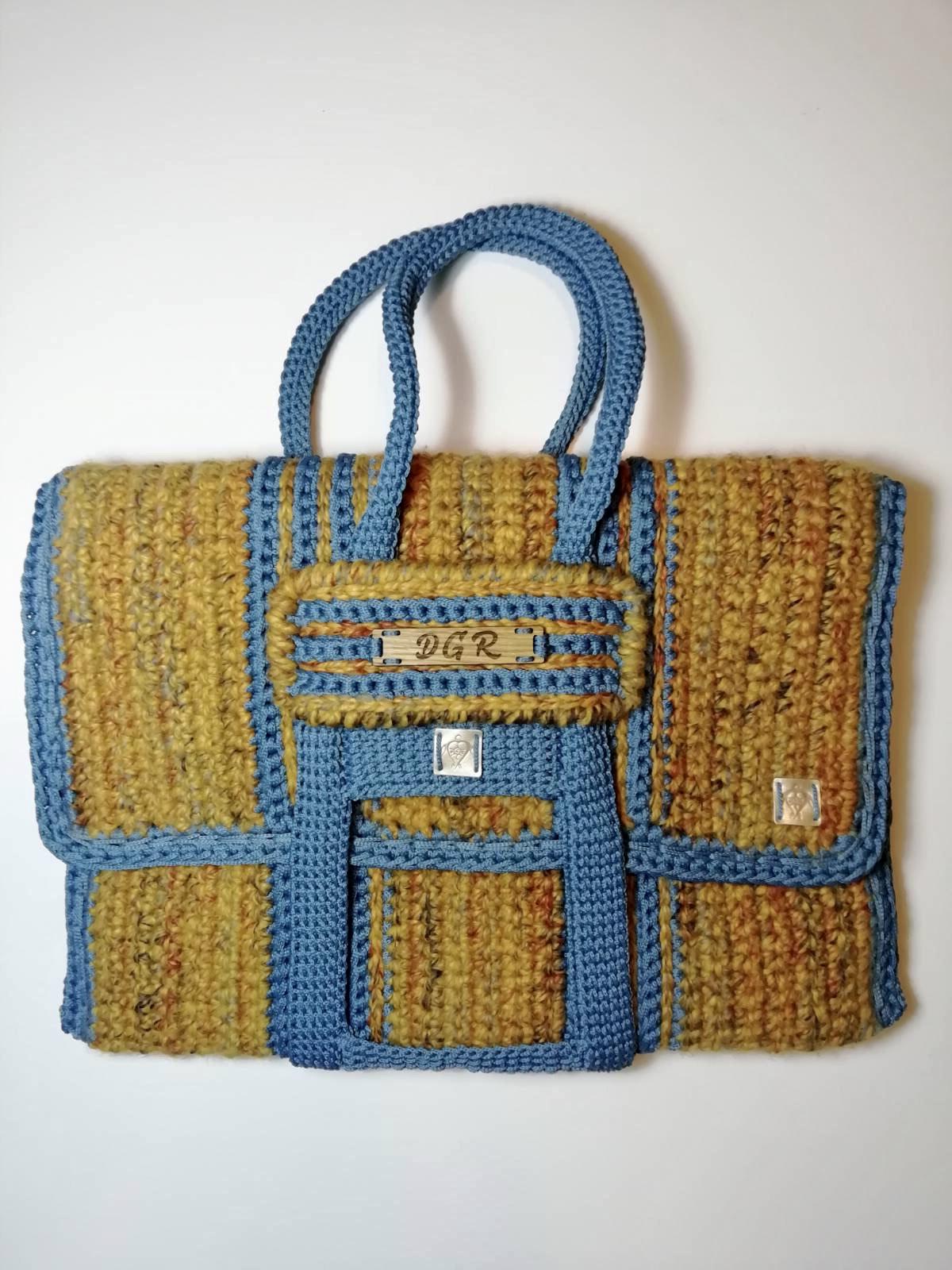 Crochet Bag in yellow/steel-blue