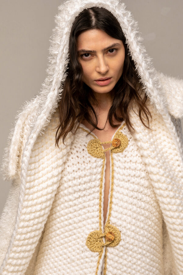 Knitted Coat Cardigan in White & Gold