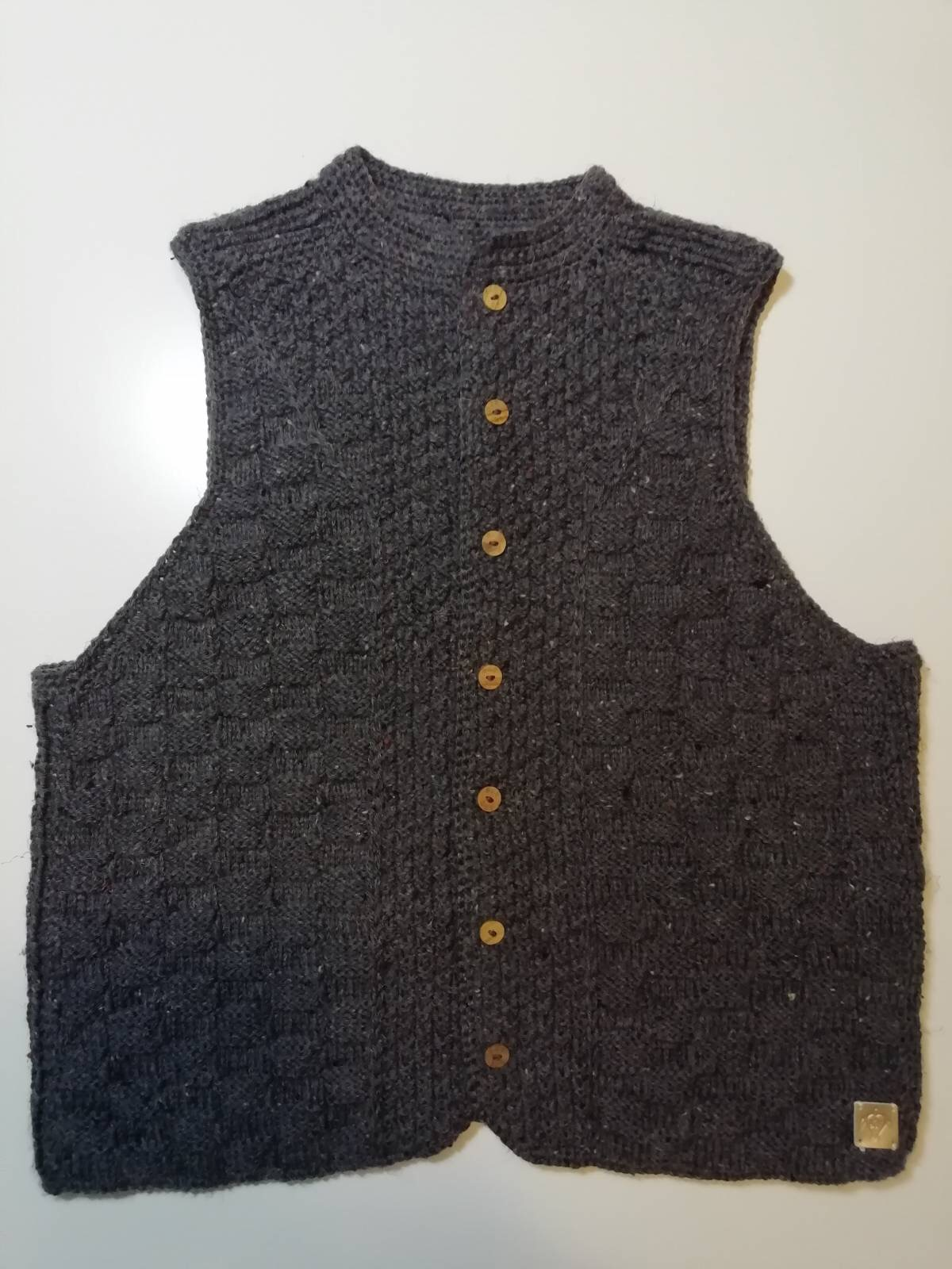 Handmade knitted vest dark grey